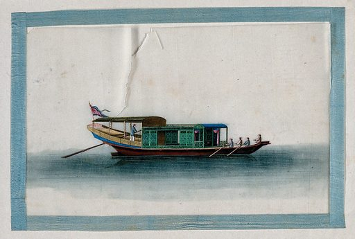 A Chinese boat. Painting by a Chinese artist, ca 1850. Created 1850. Work ID: a4p3zkvr.