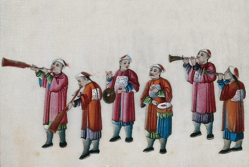 A procession of six Chinese musicians. Gouache by a Chinese artist, ca 1850. Created 1850. Work ID: pa9rsd7t.
