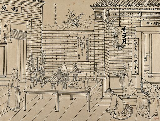 A scene of preparation for a Chinese feast. Brush drawing by Chinese artist, ca 1850. Created 1850. Work ID: frjnzkua.