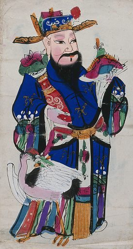 A Chinese scholar with a heron. Coloured woodcut by a Chinese artist. Work ID: hv37vntb.