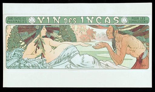 """An Inca man requests a goddess of the Incas to hand over coca, but she refuses, holding a bottle of coca wine for herself. Colour lithograph by A Mucha, 189–. The episode may have been an invention of Mucha's It is not mentioned by William G Mortimer in his book Peru: history of coca, """"the divine plant"""" of the Incas, New York 1901, though he mentions (p 152) that an Incan queen (wife of Mayta Ccapac the fourth Inca emperor) was called Mama Coca and that her name was the deified name of coca (p 230). Mortimer's frontispiece reproduces an allegorical watercolour by A Robida showing Mama Coca cutting a sprig of coca leaves to present to a conquistador from Europe Much foliate decoration in Art Nouveau style, including coca leaves in the goddess's earrings. Created between 1890 and 1899?. Coca. Incas. Tonics (Medicinal preparations). Peru. Contributors: Alphonse Mucha (1860–1939). Work ID: yrdmgpyr."""