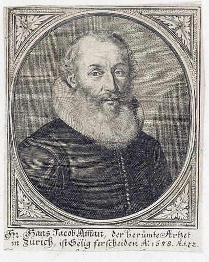 Johann (Hans) Jacob Amman. Engraving, 16 –. Created between 1600 and 1699?. Hans Jacob Ammann (1586–1658). Work ID: ze2tdrk4.