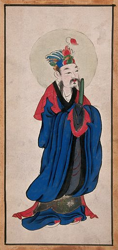 A Chinese deity. Painting by a Chinese artist, ca 1850. Created 1850. Work ID: zzgpq57n.