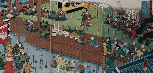Ashikaga Taka-uji presiding at the preparation of a feast. Colour woodcut by Kuniyoshi, 1852. Warriors seated on a verandah of a nobel residence; detail of a screen with a dragon in the background; menials lay out the food, while priests, craftsmen and merchants kneel in attendance to the right. Created Month 3, 1852. Contributors: Kuniyoshi Utagawa (1798–1861). Work ID: xtjkvanz.