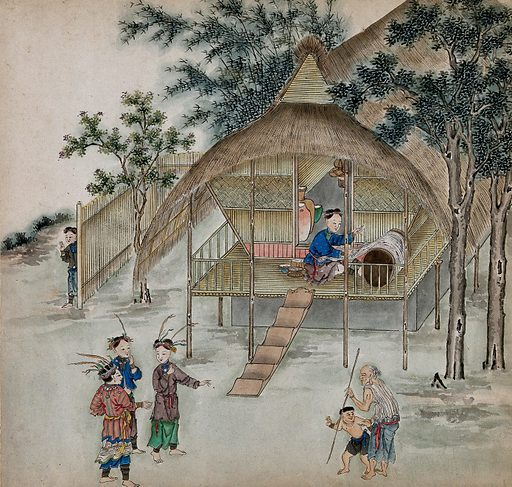 Figures from Formosa wearing traditional rural attire have a conversation in front of a thatched bamboo cottage on stilts; one woman works a silk loom. Painting by a Taiwanese artist, ca 1850. Created 1850. Work ID: nw6kaa48.