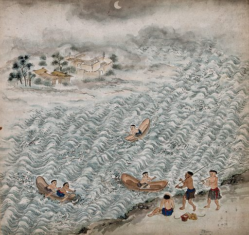 Formosan tribal peoples boating on a lake. Painting by a Taiwanese artist from around 1850. Created 1850. Work ID: wk4x44c3.