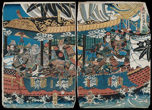 Yoshitsune's nineteen loyal retainers on board ship. Colour woodcut by Kunitsuna, 1859. Created 1859. Contributors: Utagawa Kunitsuna Kunitsuna (1805–1868). Work ID: w5zvmzvj.