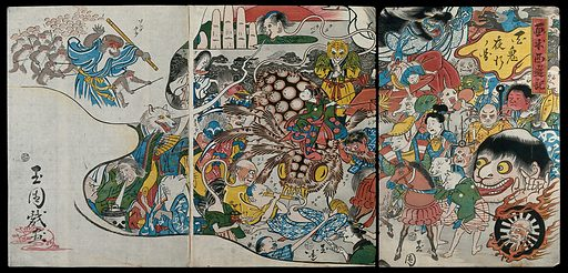 One hundred demons stirring by night. Colour woodcut by Gyokuen, 1860s. The 'monkey' hero of the Chinese novel is conjured up and leads his troops, as seen in the top left (the novel translated by Waley as 'journey to the west') A satire on the political turmoil of the 1860s, when foreign presence intruded into Japan and the Shogun's authority was under pressure. Created between 1860 and 1869. Contributors: Gyokuen (active 1850–1875). Work ID: w9j69xnh.