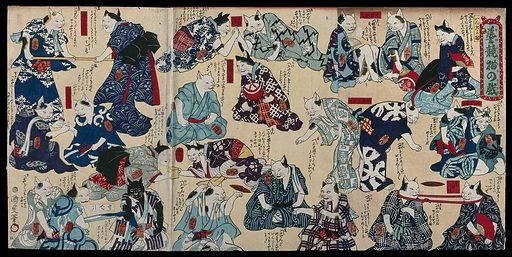 Cats in human dress playing a variety of games, including arm wrestling and tug of war. Colour woodcut by Kunimasa IV, 1870s. Created between 1870 and 1879. Contributors: Kunimasa Utagawa (1848–1920). Work ID: pa2vz8xx.