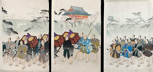 A shogunal procession from Edo Castle to Ueno hill. Colour woodcut by Chikanobu, ca 1900. Contributors: Chikanobu Hashimoto. Work ID: nqztj3va.