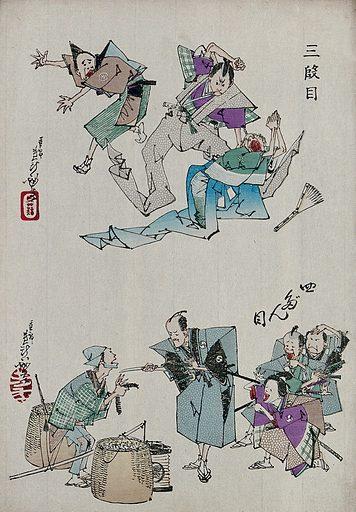 Scenes three and four from the favourite kabuki play, 'The treasury of loyal retainers'. Colour woodcut by Yoshitoshi, 1880s. Contributors: Yoshitoshi Taiso. Work ID: rcjyynzn.