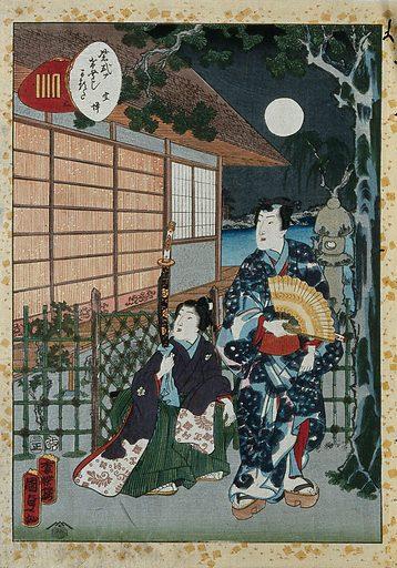 Genji and a boy attendant outside a house on a moonlit night. Colour woodcut by Kunisada II, 1857. Contributors: Kunisada. Work ID: k48jnjvh.