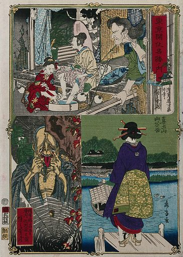 Above, a Kabuki play scene, showing a woman washing the feet of another, watched by a man; below left, the changeling 'Jizō' (Kshitigarbha); below right, an 'entertainment woman' (geisha?) standing on a jetty on the Sumida river at Mukōjima. Colour woodcut by Kyōsai, with bottom right design by Mōsai (Yoshitora), ca 1870. Contributors: Kyōsai Kawanabe. Work ID: wr8ju92p.