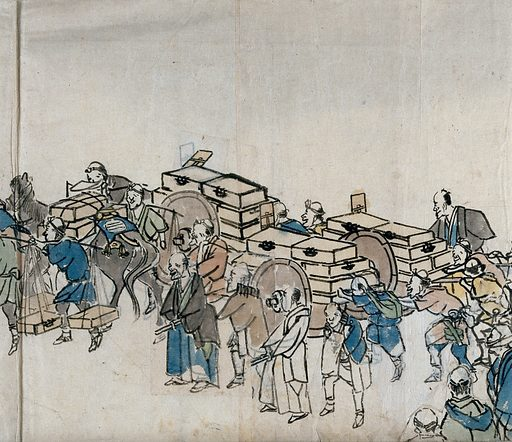 Porters and others in a convoy. Painting by ÅŒishi Matora. Work ID: tnhbgk4v.