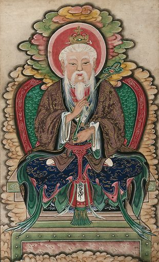 A Chinese deity (?). Gouache. Created between 1800 and 1899. Work ID: qku35dy8.