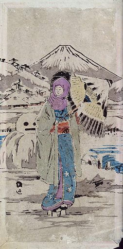 A Japanese woman standing in the snow. Watercolour, 18 –. In the background, a snowman and Mount Fuji (?) capped with snow. Created between 1800 and 1899. Women. Snowmen. Japan. Work ID: m4m5tpft.
