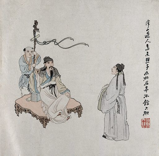 A Chinese sage with visitor and attendant. Gouache by a Chinese artist, ca 1850. Created 1850. Work ID: txk55bad.