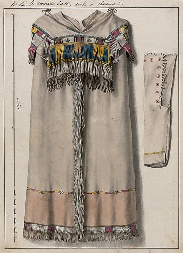 Native North American costume: a woman's dress. Watercolour attributed to Thomas Bateman. Created 1855?. Indians of North America – Clothing. Quillwork. Contributors: Thomas Bateman (1821–1861). Work ID: nvb6vz93.