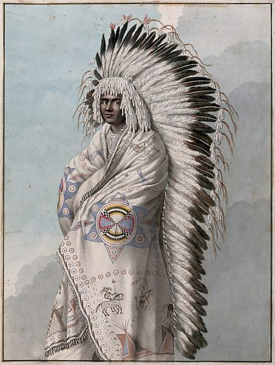 Native North American costume: a man wearing a decorated robe and a feather headdress. Watercolour attributed to Thomas Bateman. Created 1855?. Indians of North America – Clothing. Indian featherwork – North America. Contributors: Thomas Bateman (1821–1861). Work ID: htvk3xvy.