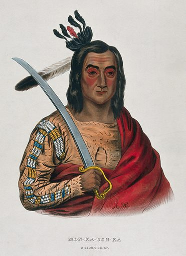 Mon-Ka-Ush-Ka (Monkaushka), a Sioux chief, holding a sword. Coloured lithograph by A Hoffy after G Cooke, 1837. Created 1837. Ethnology. Costume – America (- 19th century). Indians of North America. Dakota Indians. Contributors: G Cooke (1793–1849); Thomas Loraine McKenney (1785–1859); Alfred M Hoffy (approximately 1790–). Work ID: av54g2tk.