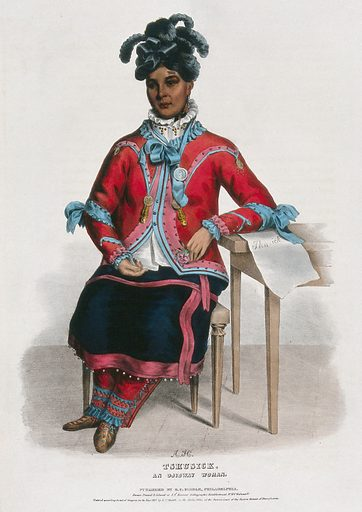 Tshusick, an Ojibwa woman, holding a flower. Coloured lithograph by A Hoffy after CB King, 1837. The description by Hall states that this woman had walked from Detroit to Washington, DC to be converted to Christianity. Created 1837. Ethnology. Costume – America (- 19th century). Christian converts. Indians of North America. Ojibwa Indians. Contributors: Charles Bird King (1785–1862); Thomas Loraine McKenney (1785–1859); Alfred M Hoffy (approximately 1790–). Work ID: aafy2kpm.