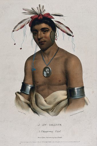 J-Aw-Beance (?), an Ojibwa chief, wearing a medallion. Coloured lithograph by Lehman & Duval after CB King, 1836. Created 1837. Ethnology. Costume – America (- 19th century). Indians of North America. Ojibwa Indians. Contributors: Charles Bird King (1785–1862); Thomas Loraine McKenney (1785–1859); Lehman & Duval Lithrs. Work ID: x6g7e4ze.