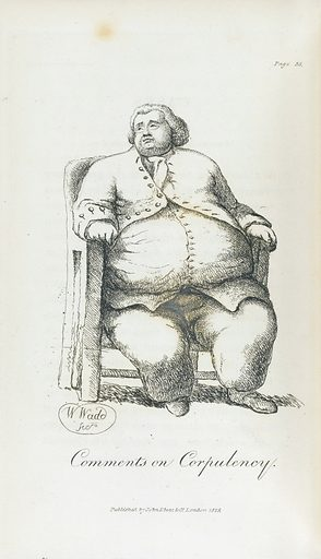 Comments on Corpulency. An obese gentleman, seated in a large chair. Work ID: h7tgdgbu.