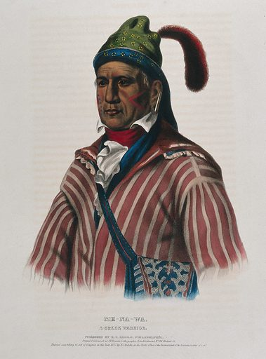 "Me-na-wa, a Creek Indian. Coloured lithograph by JT Bowen after CB King, 1837. ""… This chief commanded the party that killed Gen. McIntosh, and was one of the few that saved themselves from the defeat at the Horse-shoe, by swimming the river, after being badly wounded in the head."" – cited on University of Cincinnati Libraries webpage. Created 1837. Ethnology. Costume – America (- 19th century). Indians of North America. Creek Indians. Contributors: Charles Bird King (1785–1862); Thomas Loraine McKenney (1785–1859); John T Bowen (approximately 1801–1856?). Work ID: tu5t3zs8."