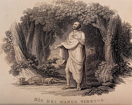 Galen, standing in a glade, looks at a human skeleton on the ground. Engraving by HF Rose, 1820. Presumably an episode mentioned in Galen's De anatomicis administrandis book I, cap. 2, in which he came across what he believed to be the skeleton of a brigand who had been killed by a traveller repelling an attack. Created 1820. Human skeleton. Human remains (Archaeology). Galen. Contributors: H F Rose (active 1810–1820). Work ID: wr2rw4ay.
