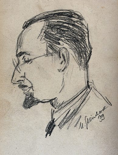 Dr Robert Heller, in profile. Drawing, 1939. Created 1939. Work ID: rrw5zsby.