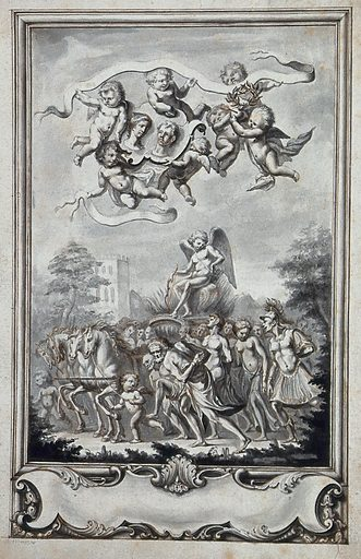 Eros is seated on a chariot drawn by for white horses and surrounded by a crowd; above, putti holding a crown of laurel and the portraits of a man an a woman; rococo frame below the image. Ink drawing, ca 1740. Work ID: f7bdvvnz.