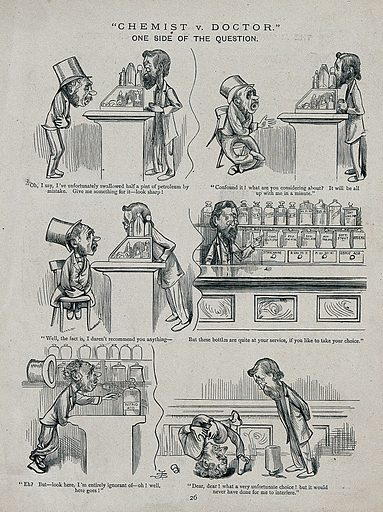 A man who has swallowed petroleum asks a chemist for a remedy; the chemist shows hims several bottles and lets him chose the one he prefers. Etching, ca 1880. Work ID: yk2n8937.