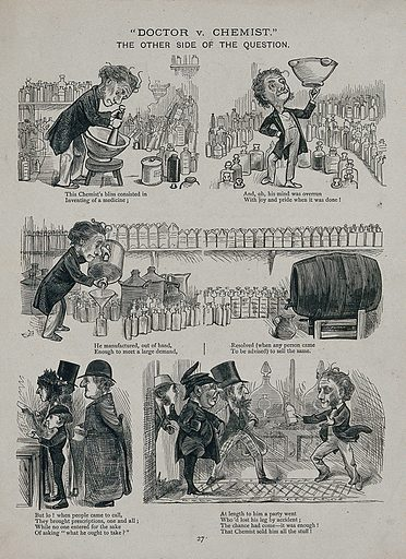 A pharmacist makes some medicine which he is only able to sell to a one-legged man. Line block. Work ID: zgbnv2fn.