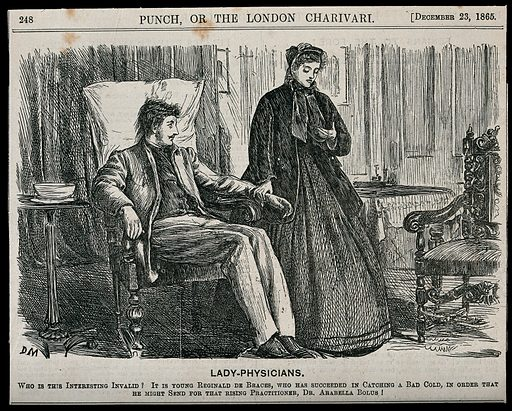 A woman doctor is taking the pulse of a male patient seated in an armchair. Engraving by G Du Maurier, 23 December 1865. Created 23 December 1865. Contributors: Du Maurier, George (1834–1896). Work ID: p9er4dgn.
