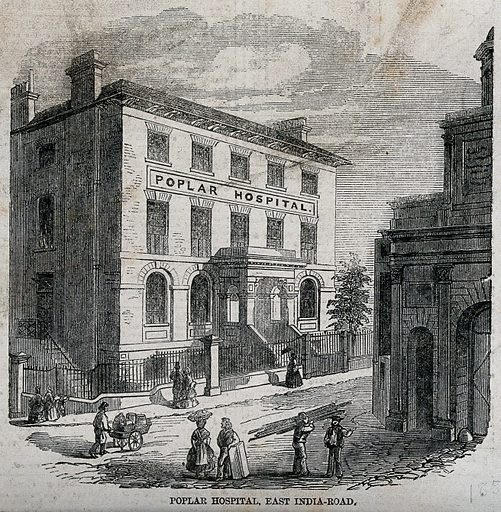 Poplar Hospital for Accidents, East India Dock Road, Blackwall, London: three-quarter view. Wood engraving, 1858. Established in this former tavern in Blackwall in 1855, to deal with victims of accidents at the nearby docks, much extended up to 1935. Following damage due to enemy action in 1941, the hospital was demolished in 1981–2 Created 1858. Hospitals – England. Architecture – England. Carriages and carts. Costume – Great Britain (- 19th century). Poplar (London, England). Poplar Hospital for Accidents. Work ID: dvavccuw.