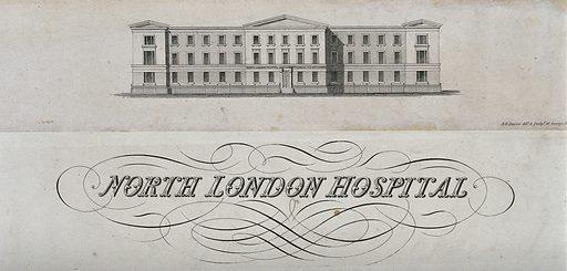North London Hospital (renamed University College Hospital): facade. Etching by BR Davies, c 1834. Built 1833–4; renamed 1837. Architecture – England. Hospitals – England. University College Hospital (London, England). Contributors: B R Davies. Work ID: btvb52je.
