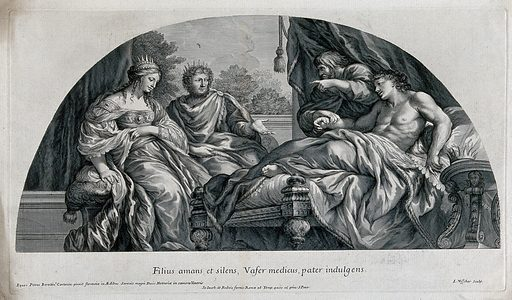 Antiochus is reclining on a bed while his physician Erasistratus is taking his pulse; King Seleucus and Queen Stratonice are seated at his bedside. Engraving by J de Visscher after P Berrettini da Cortona, ca 1690. Created 1690?. Contributors: Pietro, da Cortona (1597–1669); Jan de Visscher (1633–approximately 1692). Work ID: pyuse4v6.