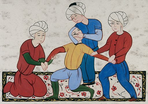 A Persian surgeon performing an eye operation on a man held by two other men. Painting, ca 1900. Created 1900. Work ID: whuag59r.