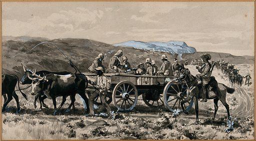 Boer War: men in an ambulance cart drawn by cows. Watercolour by G Soper, ca 1900. Created 1900. Contributors: George Soper (1870–1942). Work ID: cr8gzzax.