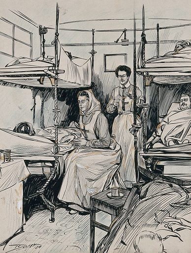 Two nurses with patients lying in bunk beds, on a Russian ambulance train. Ink drawing, 1904. Created 1904. Work ID: s6kg7hmw.