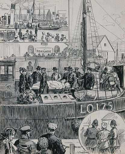 Russo-Japanese war: arrival of a hospital ship. Ink drawing by A Kemp Tebby, 1904. Created 1904. Contributors: Arthur Kemp Tebby (active 1883–1928). Work ID: byrmmx3r.