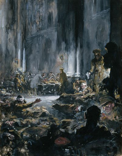 World War One: a church transformed into a military hospital. Gouache painting by G Holiday, 1915. Created 1915. Contributors: Gilbert. Holiday. Work ID: qdzknsv3.
