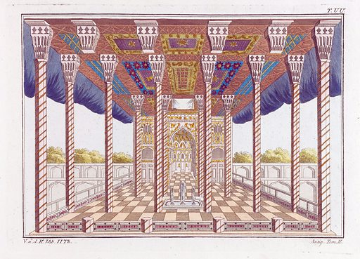 The Summer Hall of the Jews. Coloured engraving, ca 1804–1811. Created 1804?-1811?. Antiquities. Classical antiquities. Jerusalem. Temple of Jerusalem (Jerusalem). Contributors: Robert von Spalart. Work ID: uqy2vy2n.
