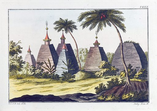 A pagoda in India. Coloured engraving, ca 1804–1811. Created 1804?-1811?. Antiquities. Classical antiquities. Contributors: Robert von Spalart. Work ID: bxv2235f.