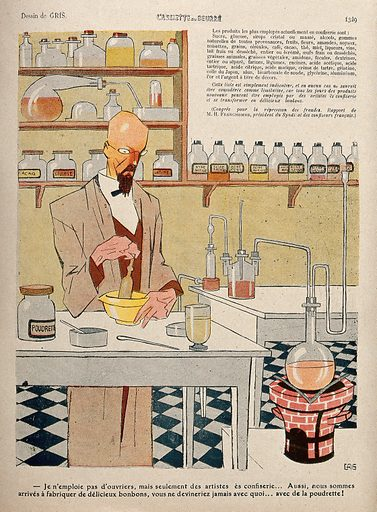 A chemist making confectionery in a laboratory; various bottles of acid in the background. Colour lithograph after Gris, 23 October 1909. Created 23 October 1909. Contributors: Gris. Work ID: h8cntatg.
