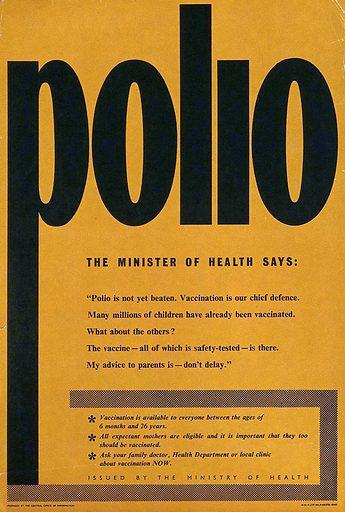 Vaccination against polio. Colour lithograph, ca 1940. Work ID: n97dbs9q.