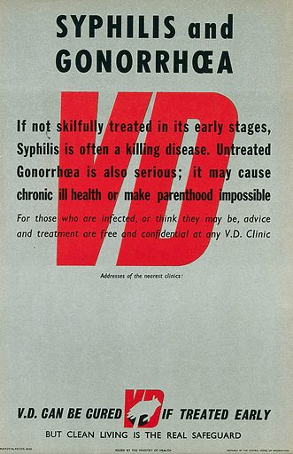 Prevention of syphilis and gonorrhoea. Colour lithograph, ca 1950. Work ID: nfatfjbc.