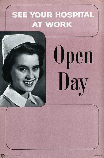Hospital open days, showing a nurse. Process print, ca 1950. Created 1950?. Work ID: x255njep.