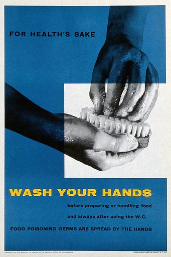 The regular washing of hands. Lithograph, ca 1960. Work ID: dn9ub9w8.