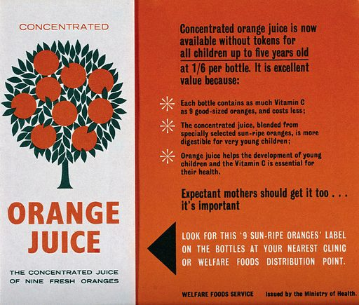 Leaflet issued by the British Ministry of Health regarding concentrated orange juice, showing an orange tree. Colour lithograph, ca 1960. Created 1960?. Work ID: hfsda9cy.